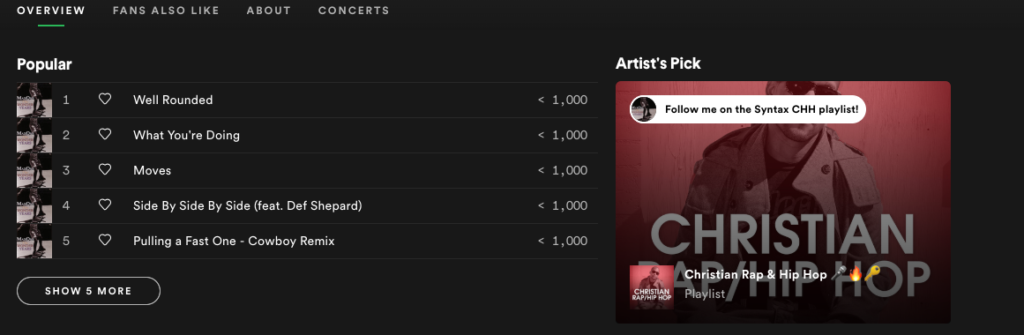 Spotify for Artists, Spotify, Artist's Picks, digital music, streaming, Syntax Creative - image