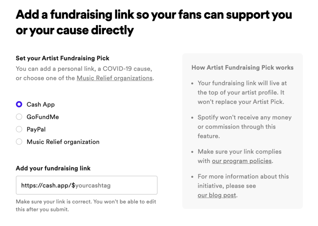 spotify, fundraising, add account, Syntax Creative - image