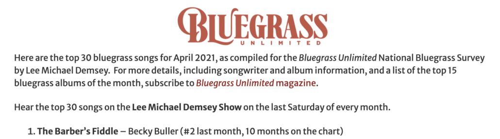 Bluegrass Unlimited, bluegrass, music charts, Becky Buller, Syntax Creative - image